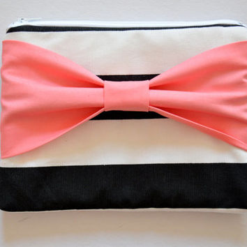 Clutch Pouch Cosmetic Case MakeUp Bag Accessory Pouch Zippered Black & White Stripe with Salmon Pink Bo