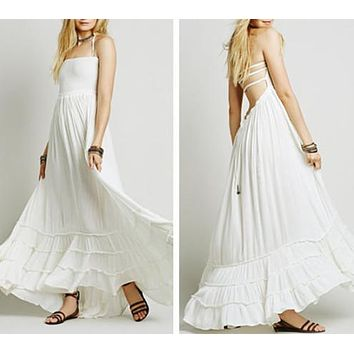 "Boho Maxi Dress White ""Extratropical"" Halter Gown Long Strappy Backless Wedding Dress Gauze Gypsy Dress Smocked Front Adjustable Waist Triple Tiered Hem Sizes Small Medium Or Large"