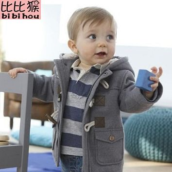 2017 Christmas Toddler Baby boys Winter Warm Outerwear Thicken Hooded faux leather Fleece Jacket Outfit Overcoat Parka Snowsuit
