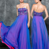 Colors 1715 Multicolor Beaded Chiffon Prom Evening Dress