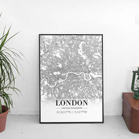 London Print, London City Map, London Poster, London Map Print, London City Map Print, Street Map Print, Live Room Print, Printed & Shipped