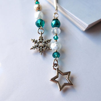 Unique book nered gift, Snowflake and Star tibetan charm beaded bookmark,  Emerald Green, Silver and Light Blue Book thong, Readers gift