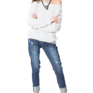 Q2 Gray Speckled Sweater In Soft Touch Fabric