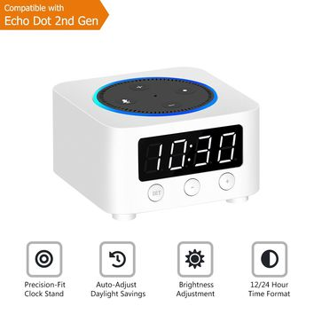 Desk Clock for Echo Dot 2nd Generation, Echo Dot Holder Stand Docking Station with LED Clock, Bedside Clock for Smart Home Alexa Speaker, Saving Space on Nightstand or Tables (White)