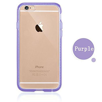 Colorful POPO Clear Hard PC Back Panel Hybird Soft TPU Bumper Case with Bling Rhinestone Diamond Frame for iPhone 6 Plus& 6s Plus 5.5 Inch (Purple)