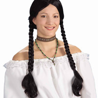 Costume Wigs Long Black Pigtails Costume Wig