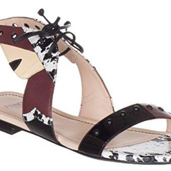 Fendi Women's Leather Bug Monster Lace up Sandals Flats Shoes