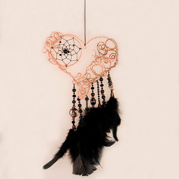 Black Dream Catcher, Dream Catcher,  Heart Decor, Copper Dreamсatcher, dreamcatchers, Accessories, beads, metal, glass, crystals