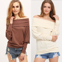Plus Size Women's Fall and Winter Fashion Knit Batwing Sleeve Long Sleeve Blouse [8906175495]