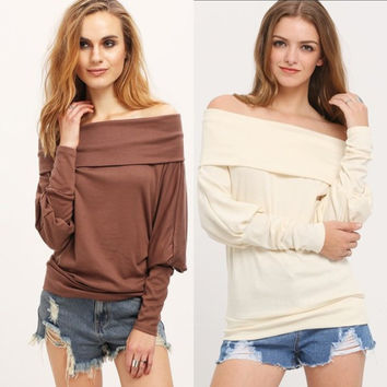 Plus Size Women's Fall and Winter Fashion Knit Batwing Sleeve Long Sleeve Blouse [6446685508]
