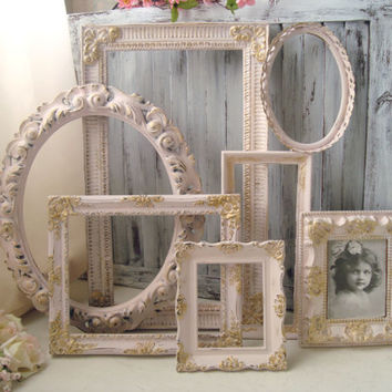 Pink Vintage Ornate Frames, Light Pink and Gold Open Frame Set, Pastel Pink Nursery Decor, Oval Ornate Open Frames, Plastic Resin Frames