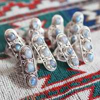 Sundown Triple Moonstone Ring