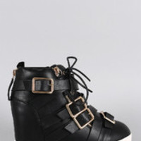 Women's Multi Buckle Strap Lace Up Round Toe High Top Wedge Sneaker