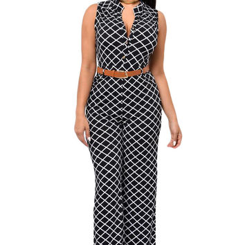 Tightening Belt Geometric Print  Rompers  Long Jumpsuit  Sleeveless Overalls For Wide Leg Jumpsuit SM6