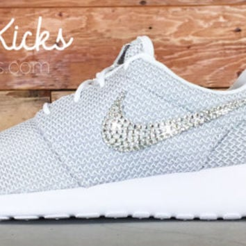 Bling Nike Roshe Run Glitter Kicks - Blinged Nikes, Bling Shoes, Blinged out Nikes, Glitter Shoes Gray Metallic