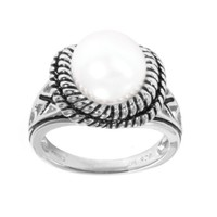 Sterling Silver White Freshwater Cultured Button Pearl Ring