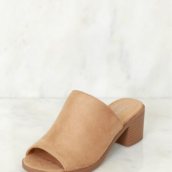 Peep Toe Mule Heel Natural