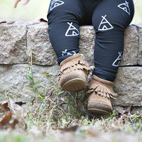 Hand Painted Childrens Leggings with Teepee Design FREE SHIPPING