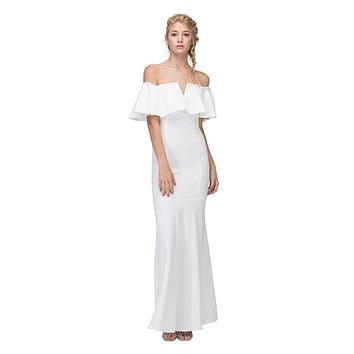 Long Formal Ivory Dress Off Shoulder with V-Notch Ruffled Bodice