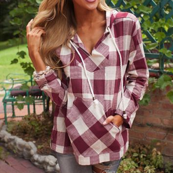 Women Casual Fashion Multicolor Tartan Print Hooded Pullover Long Sleeve Shirt Tops