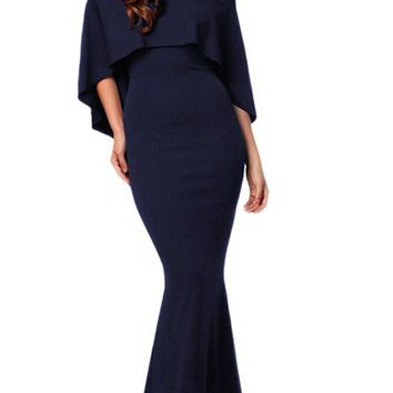 Navy Off Shoulder Poncho Gown Mermaid Dresses