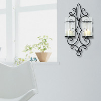 Furnistar Iron Vertical Candle Tealight Pillar Holder Wall Sconce - Two Pillars
