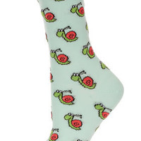Green Snail Ankle Socks