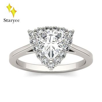Test Positive Moissanite Real 18K 750 Solid White Gold One Carat Lab Grown Diamond Engagement Ring For Women Bridal Jewelry