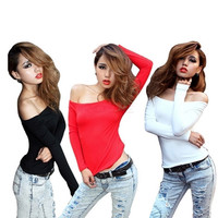 Women's Sexy Off-shoulder Tops Long Sleeve Slim Blouse T-shirt 7478 One size = 1644790916