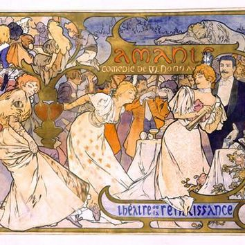 Nouveau Amants Play Advertisement by Alphonse Mucha Fine Art Print