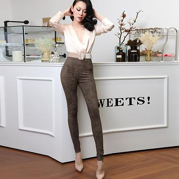 Le Palais Vintage - Street Snap Pencil Velour Pants in 5 Colors: Chocolate, Black, Army Green, Apricot and Light Grey