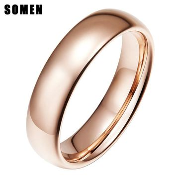 Somen Classic 6MM Tungsten Ring for Women Men Smooth Hand Polishing Custom Name Wedding Anniversary Gift US size