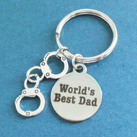 World's Best Dad, Handcuffs, Silver, Key chain, keyring, Gift, Jewelry, Accessory