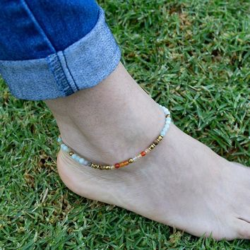 Carnelian and Amazonite Anklet