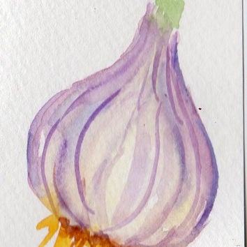 Garlic watercolor painting original Bulb ACEO by SharonFosterArt