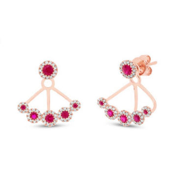 0.33ct Diamond & 0.58ct Ruby 14k Rose Gold Earring Jacket with Studs