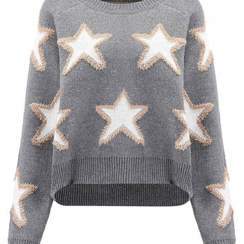 Grey Star Print Jumper