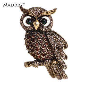 Madrry Alloy Metal Big Owl Brooches For Women Men Rhinestone Vintage Bouquet Hijab Pin Scarf Buckle Clips femininos Broches