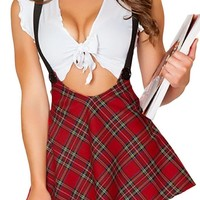 Dear-Lover Women's Seductive School Girl Red Costume