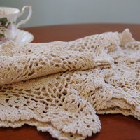 Four Crocheted Place Mats, Ecru Cotton Crocheted Placemat Set of 4, Shabby Chic Table Linens, Cottage, French Country