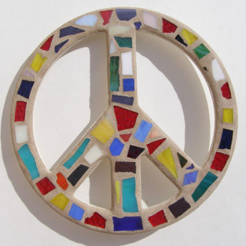 Mosaic Peace Sign Wall Art  Boho Hippie Funky Wall Decor Stained Glass Art  60's Retro Decor