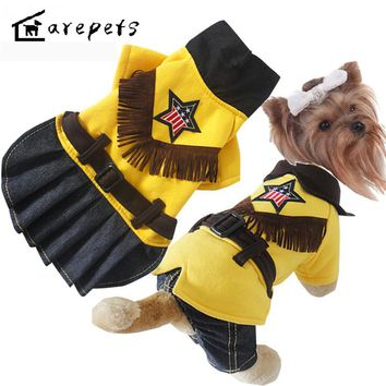2017 New Style Webbing suit Cowboy Lovers Dog Clothes for Teddy/chihuahua