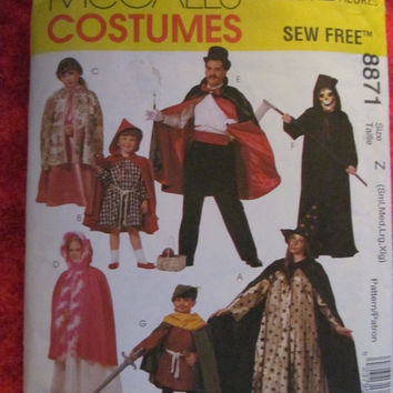 Sale Uncut McCall's Sewing Pattern, 8871! Small/Medium/Large/XL Childrens/Kids/Adults Wizard/Magician/Red Riding Hood/Robin Hood Costumes