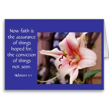 Sympathy Card Pink Lily Bloom Bible verse on faith