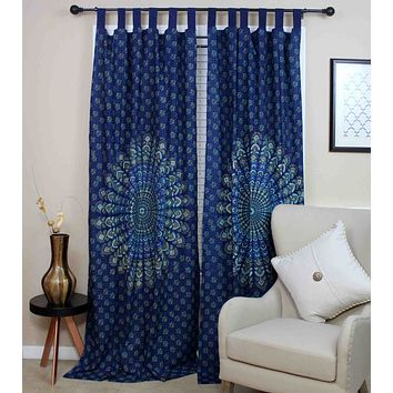 Handmade Sanganer Peacock 100% Cotton Tab Top Curtain Drape Panel 44x88 Blues