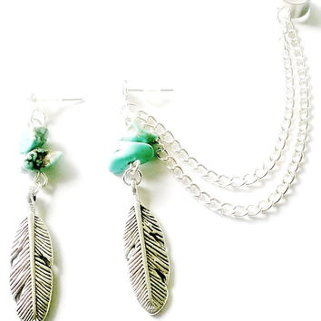 Antique silver Tribal Native American feather ear cuff or cartilage earrings