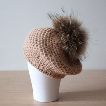 Knitted alpaca beret with fur pom pom in Camel, Large fur pom pom hat, Beanie with fur, Detachable pom pom, Recycled fur