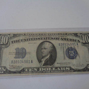 Series of 1934A US 10 Dollar Bill Silver Certificate Blue Seal Alexander Hamilton Nice old American Paper Money for your Collection
