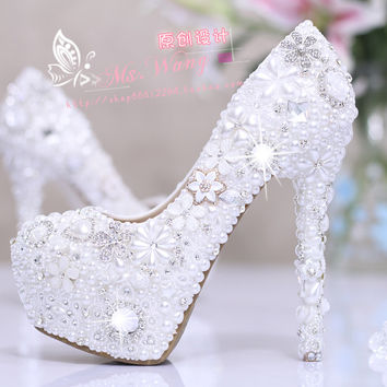 8 10 12CM Heels Women's Fabulous Wedding Shoes Bridal Shoes High Heels Waterproof Shoes FEIXI