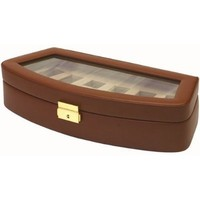 Watch Box Storage Case For 6 Watches Brown Leather Lock